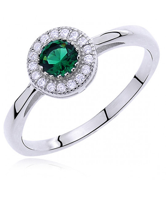 Silver ring with emerald color & white zirconia, EU-15
