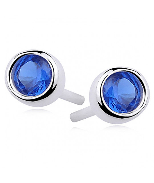 Silver round earrings zirconia, Sapphire