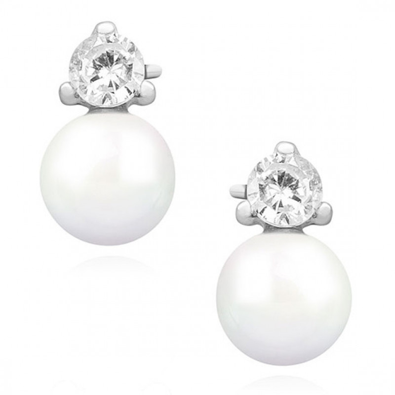 Silver earrings with zirconia, Pearl
