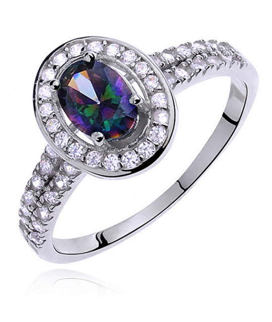 Silver ring with multicolored colored & white zirconia, EU- 16