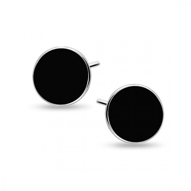 Silver black enameled earrings, Circles