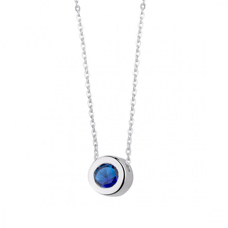 Silver necklace with zirconia, Round pendant with sapphire, 45 cm