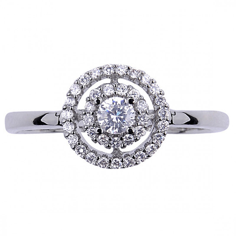Silver Halo ring with white zirconia, EU-15