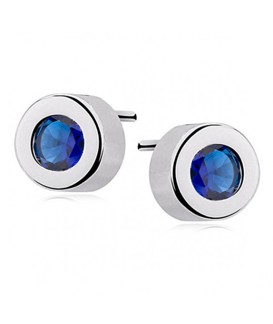 Silver round earrings, Sapphire