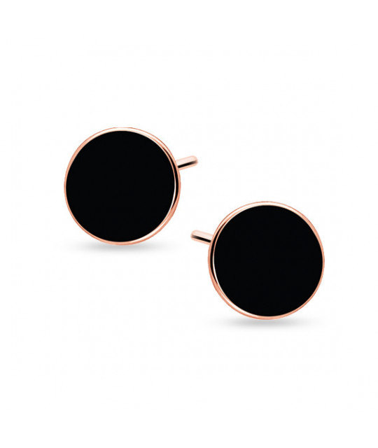 Black silver earrings, Rose gold-plated circles