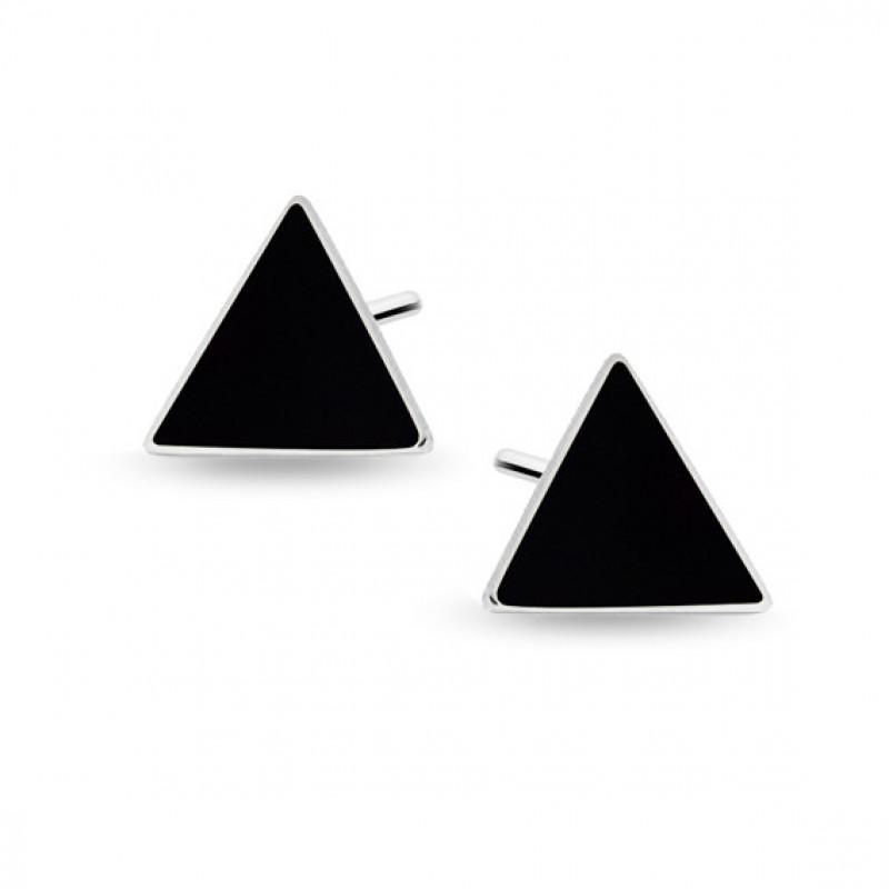 Silver black enameled earrings, Triangles