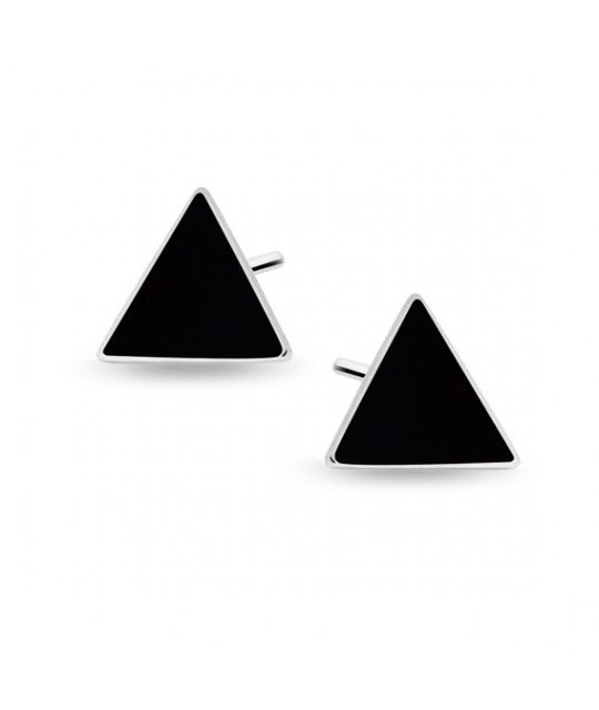 Silver black enameled earrings, Triangles