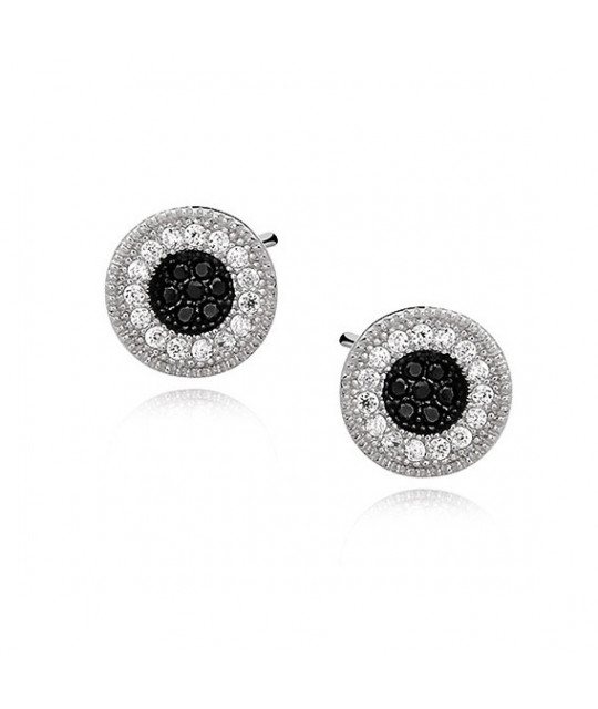 Silver earrings with white and black zirconia