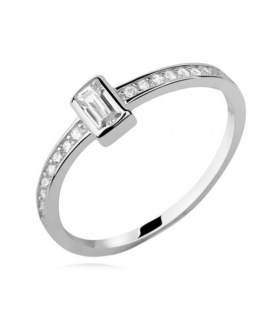 Silver subtle ring with white zirconia - Rectangle, EU-15