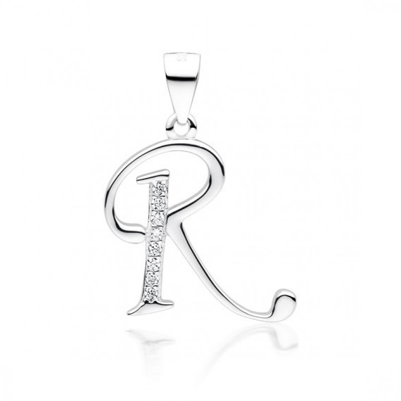 "Silver pendant with white zirconia, letter ""R"""