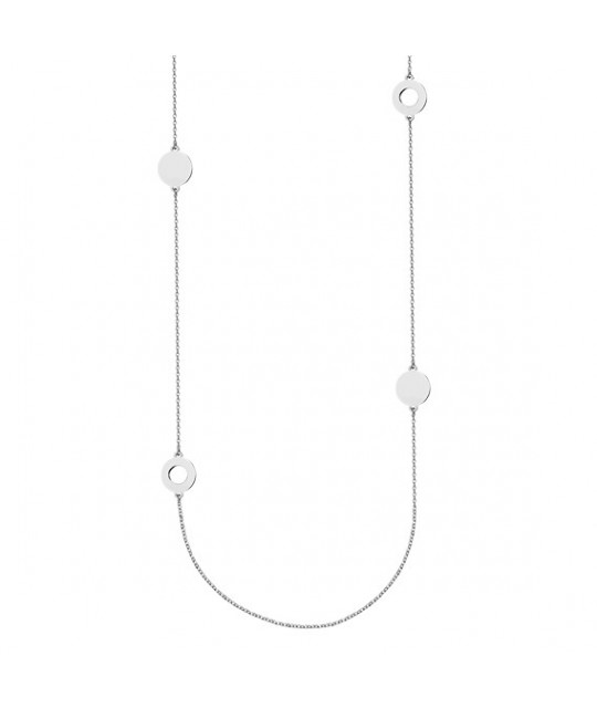 Silver necklace, Four round pendants, 80-83 cm