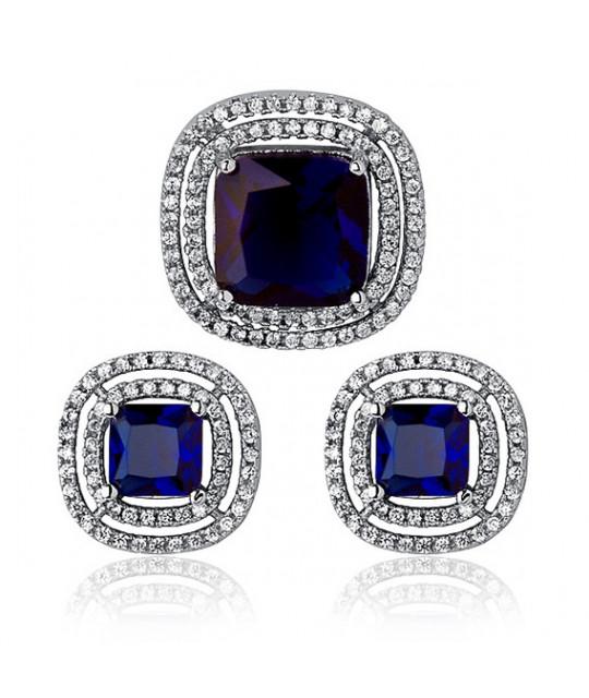 Silver elegant set, Sapphire
