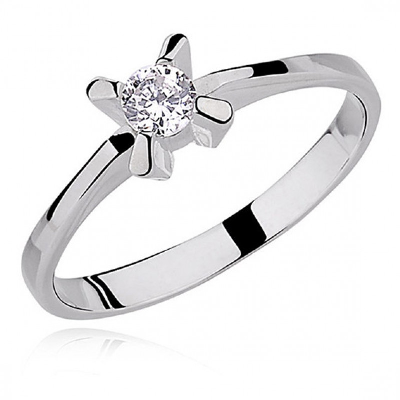 Silver ring small white zirconia with 4 prong setting, EU-15