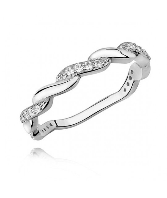 Silver subtle braid ring with zirconia, EU-15