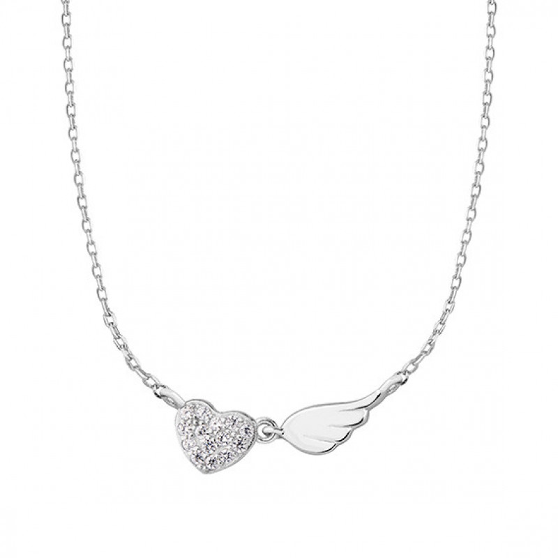 Silver necklace Heart with zirconia and wing,  42- 45 cm