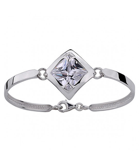 Silver bracelet with white zirconia, 19 cm