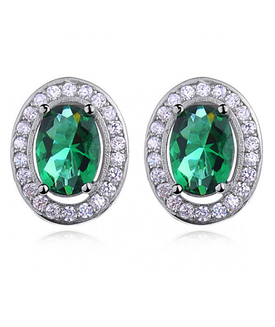 Silver earrings with zirconia, Emerald