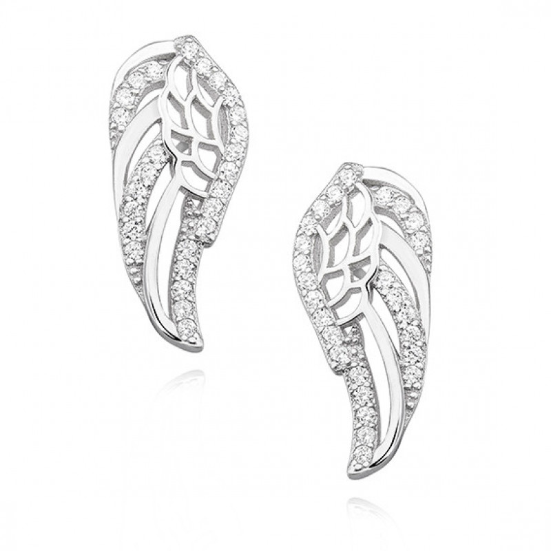 Silver earrings, Wings with zirconia