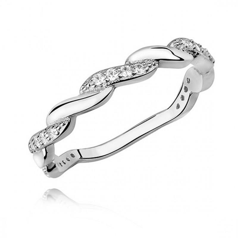 Silver subtle braid ring with zirconia, EU-16