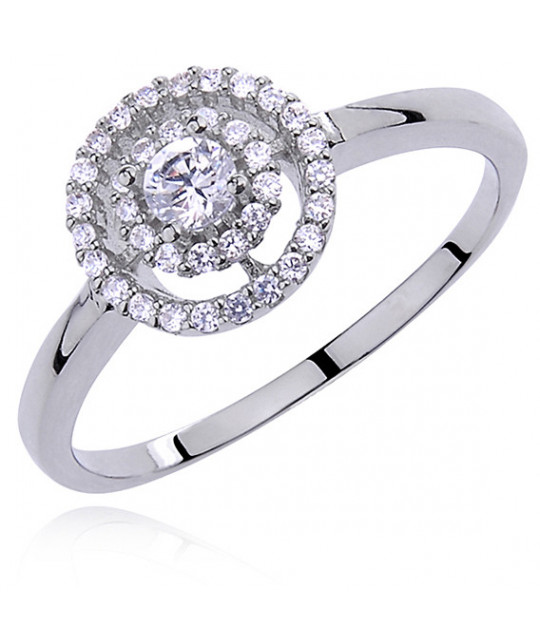 Silver Halo ring with white zirconia,  EU-17