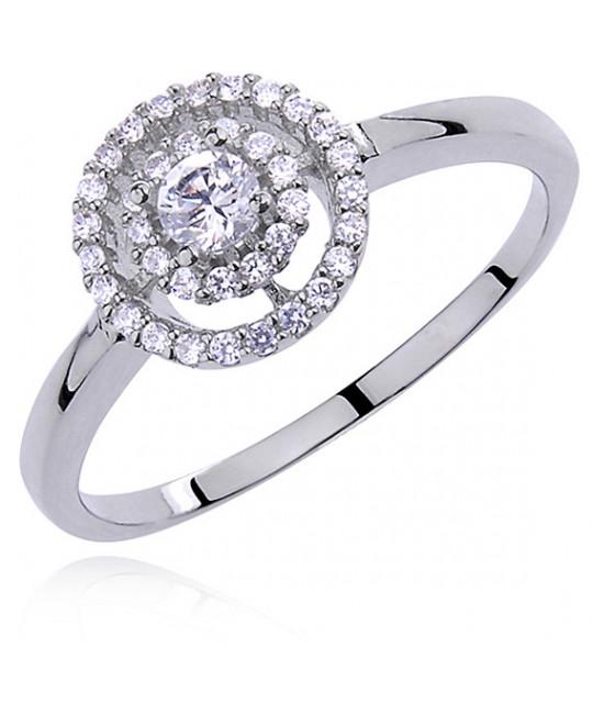 Серебряное кольцо-Halo с белым цирконом, EU-17