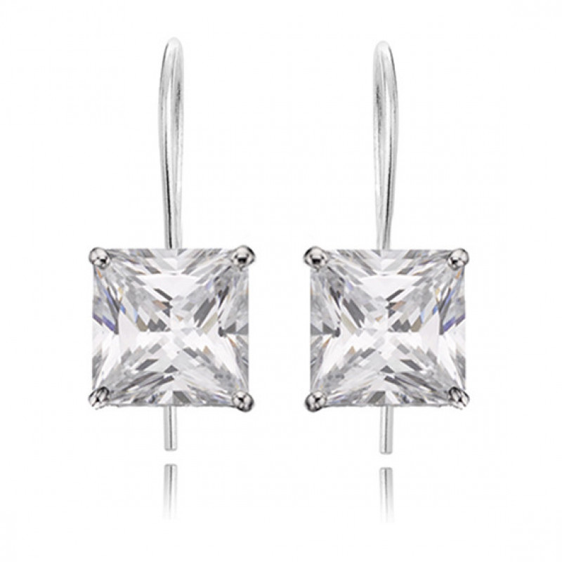Silver earrings with white zirconia, 7x7 mm