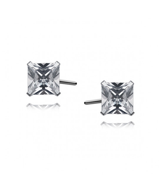 Silver earrings with white zirconia, 5 x 5 mm