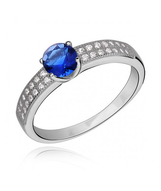Silver ring with sapphire & white zirconia, EU-16