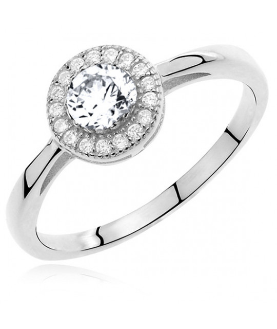 Silver ring with white round zirconia microsetting, EU-16