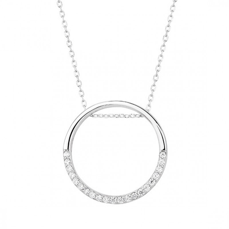 Silver necklace Cirlce with zirconia, 42-45 cm
