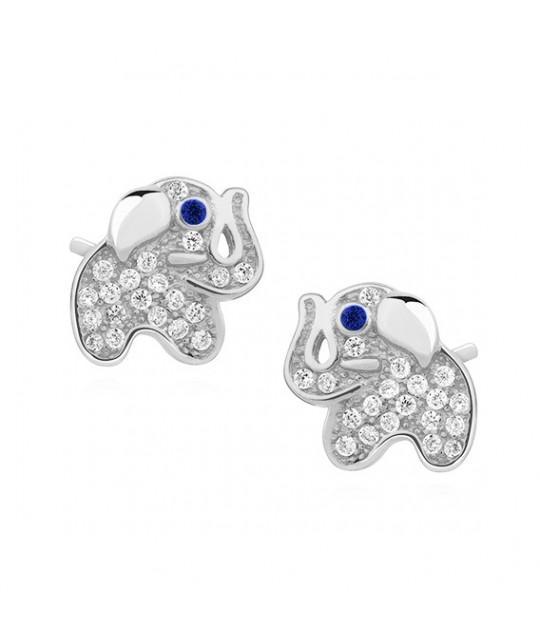 Silver earrings with zirconia, Elephants