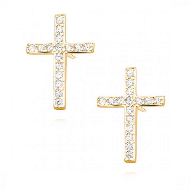 Silver earrings with zirconia, Crosses