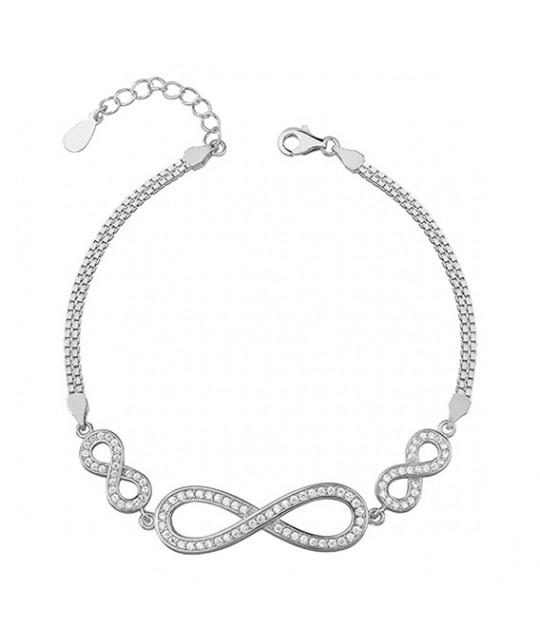 Silver bracelet with white zirconia Infinity, 18-21 cm