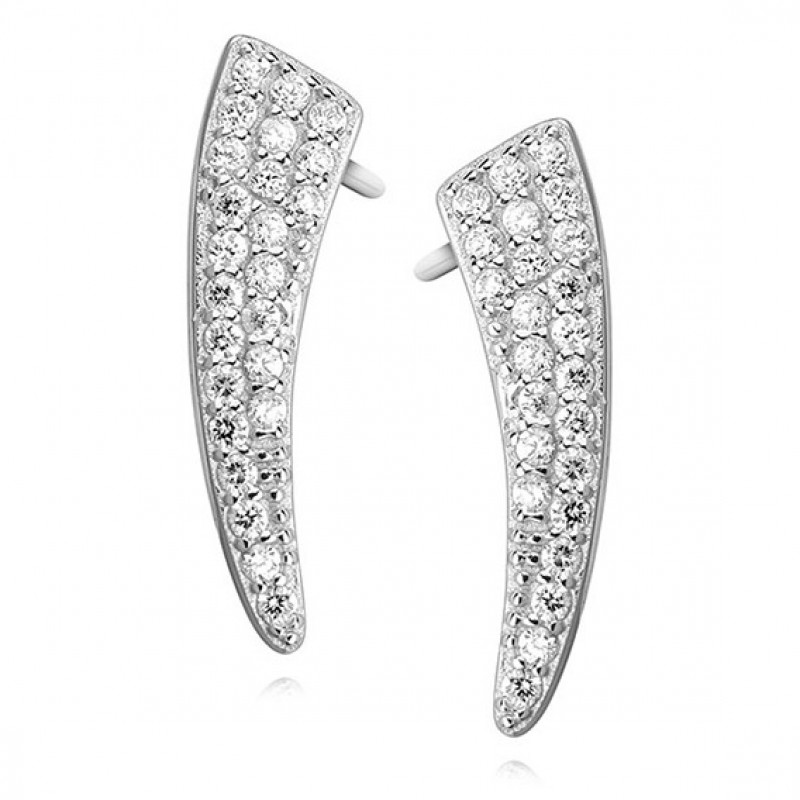 Silver earrings with white zirconia, 19 mm x 5 mm