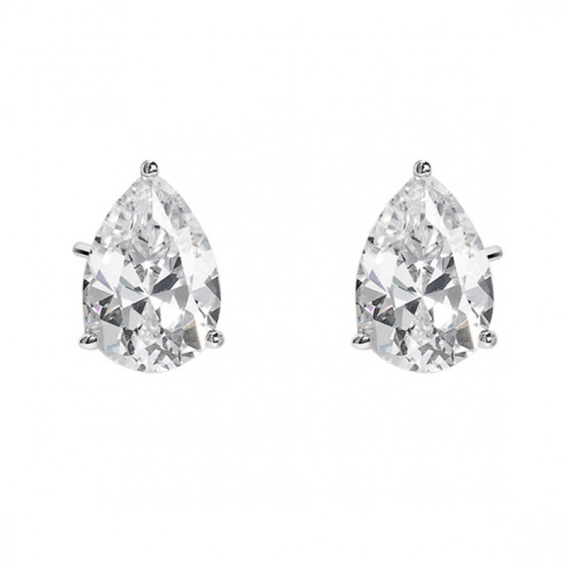 Silver tear-shaped earrings