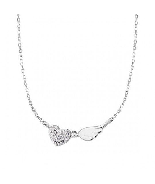 Hopea kaulakoru Sydän zirkonilla ja siivellä, 42-45 cm
