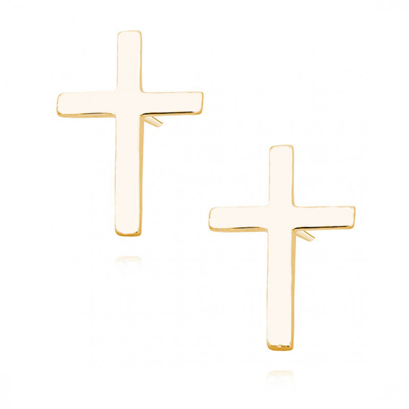 Silver earrings, Gold-plated crosses
