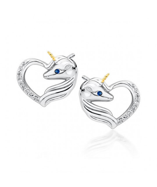 Silver earrings, Unicorn with white zirconia and sapphire eye