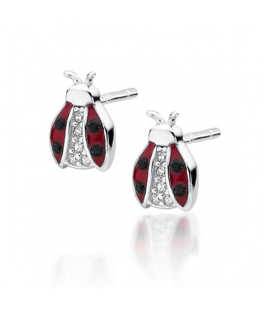 Silver earrings, Ladybugs