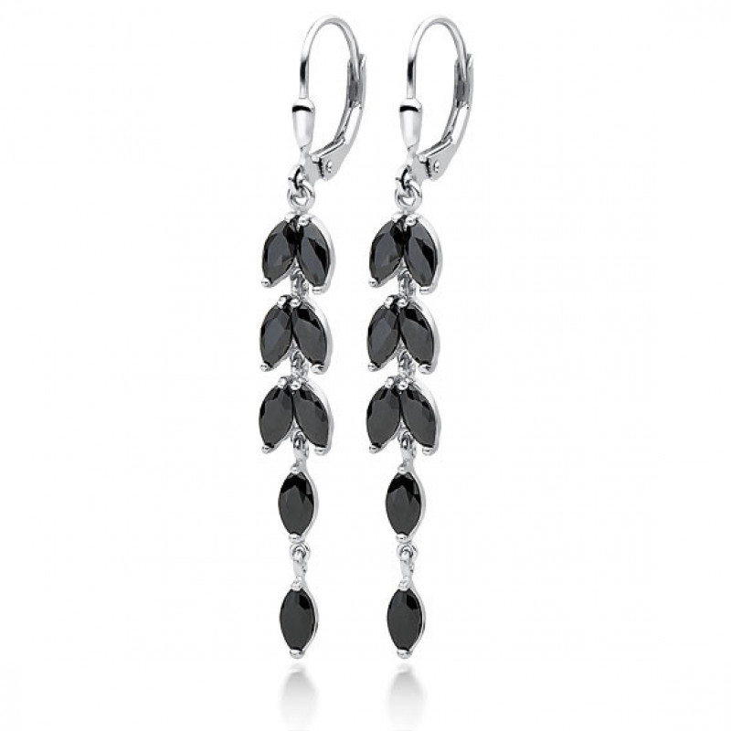 Silver earrings with black zirconia, Long leafs