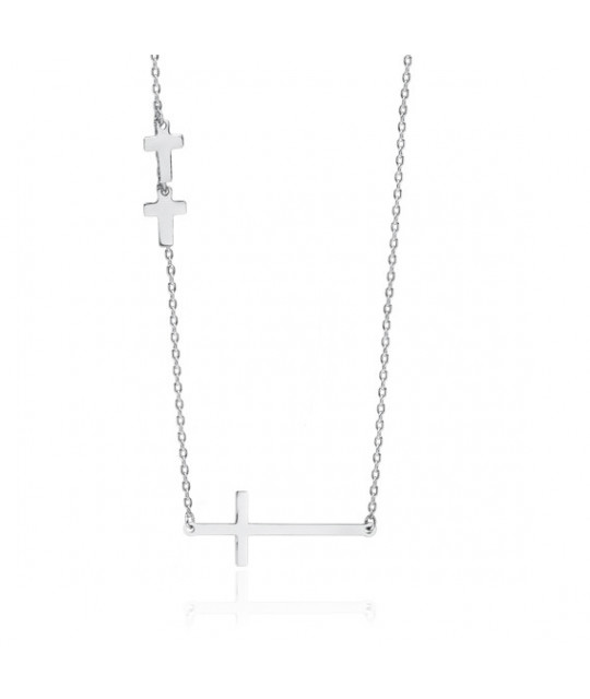 Silver necklace with crosses, 42-45 cm
