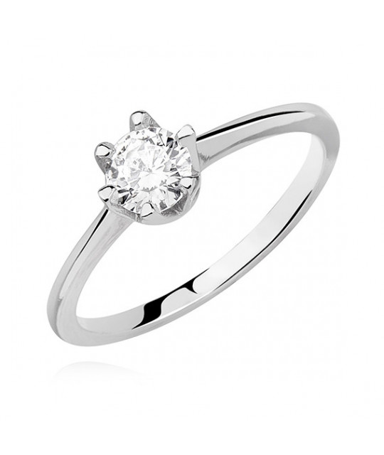 Silver ring with white zirconia, EU-16