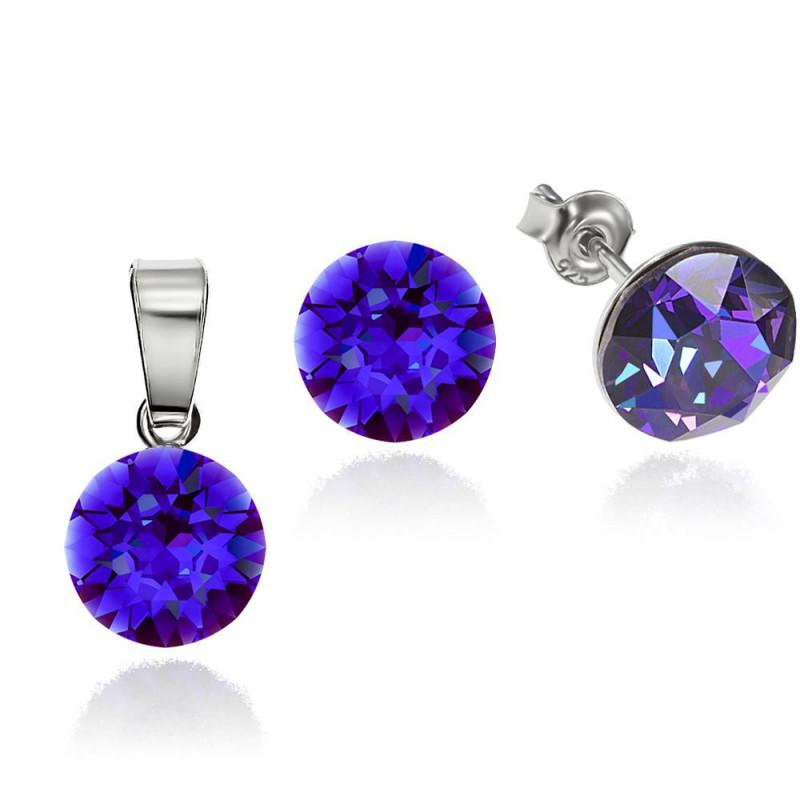 Set: earrings + necklace, Heliotrope