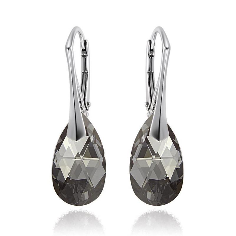 Earrings Pear, Silver Night, 16 mm