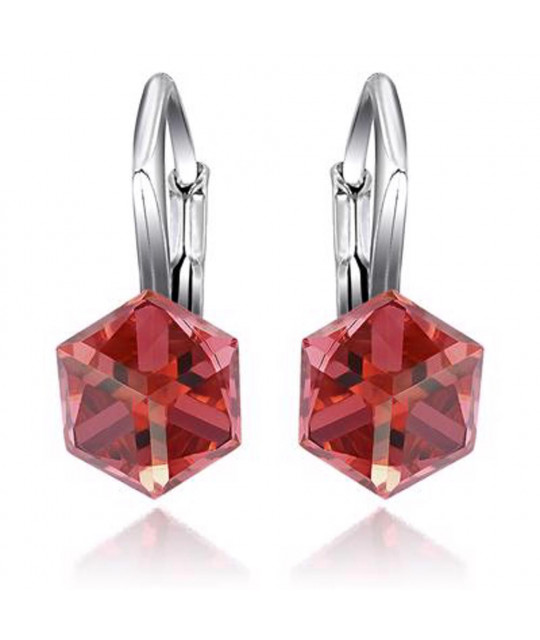 Earrings Cubic, Padparadscha