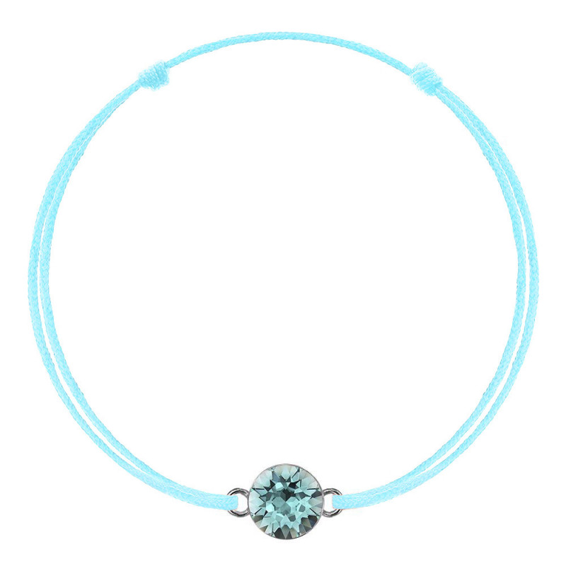 Blue kabbalah with Swarovski Xirius crystal, Light Turquoise
