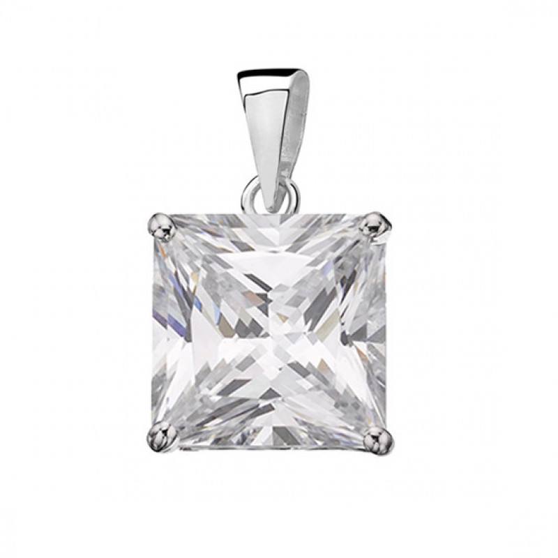 Silver pendant with white zirconia, 10 mm x 10 mm