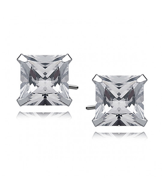 Silver earrings with white zirconia, 8 x 8mm Square