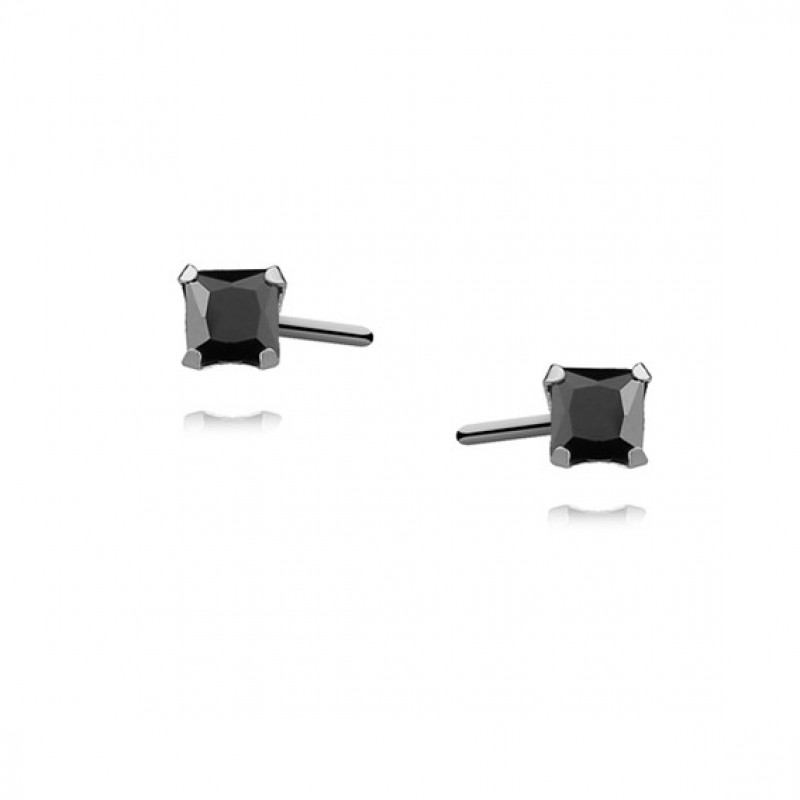Silver earrings with black zirconia, Square 3 x 3mm