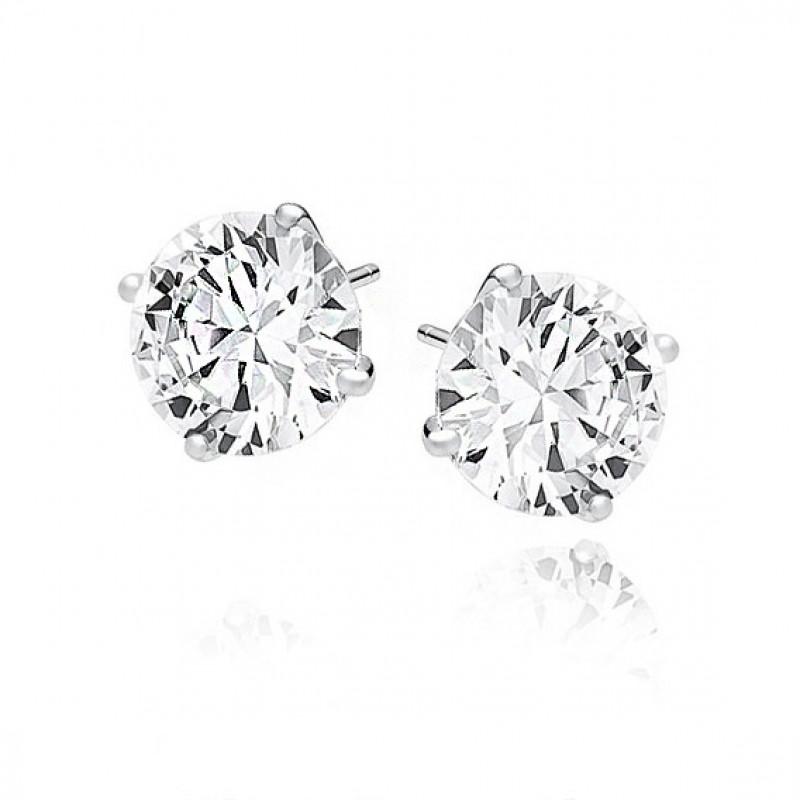 Silver earrings round white zirconia,10mm